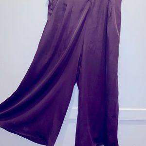 Satin like Culottes , never worn , eggplant colour